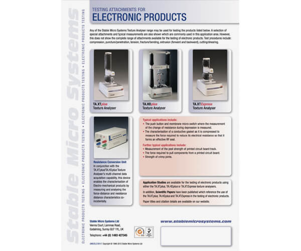Electronics applications brochure