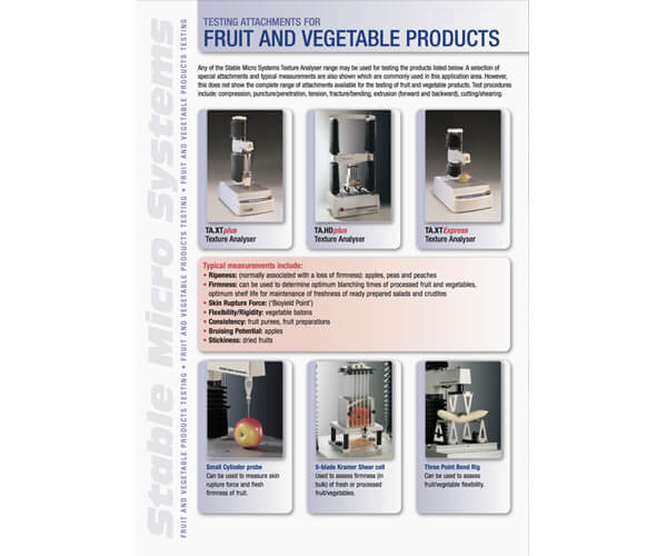 Fruit and Vegetables applications brochure