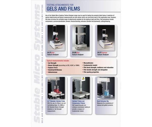 Gels and Films applications brochure