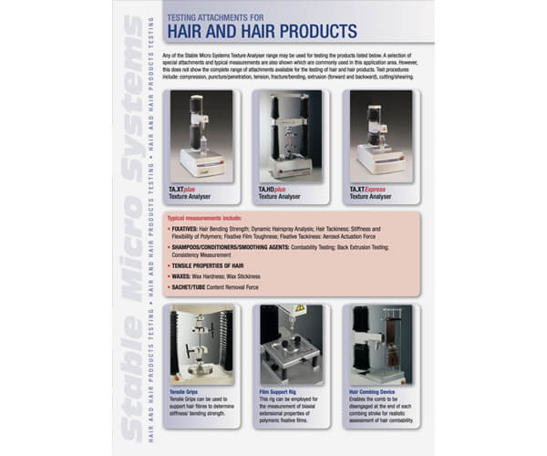 Hair and Hair Products applications brochure